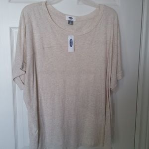 Old Navy Oatmeal coloured scopp neck top